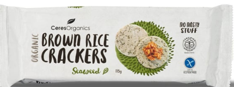 Brown Rice Crackers Seaweed - Ceres Organic