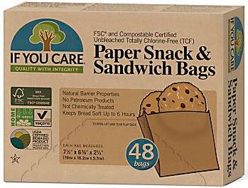 Paper Snack & Sandwich Bags (48) - If you Care