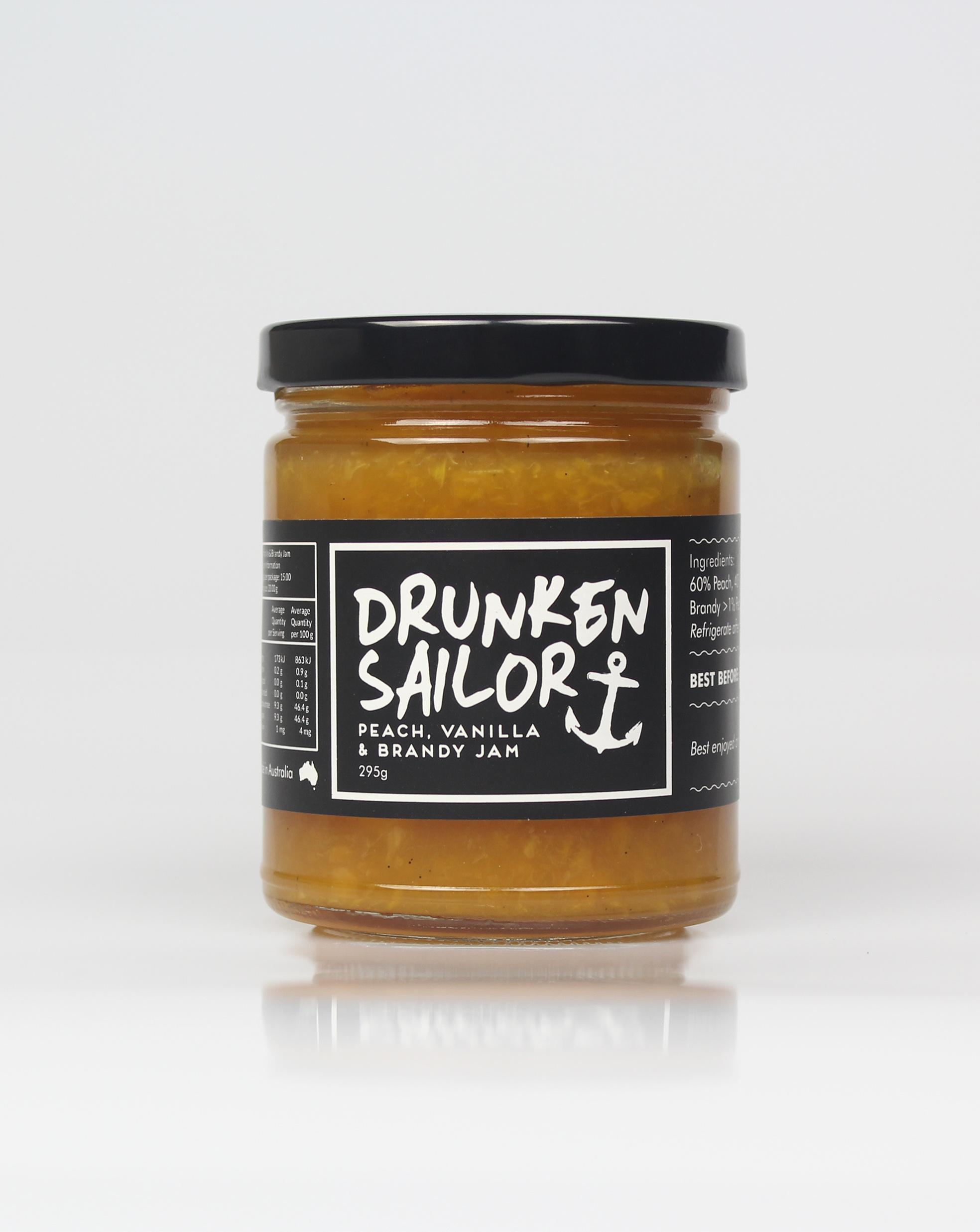 Drunken Sailor Peach, Vanilla & Brandy Jam  260g