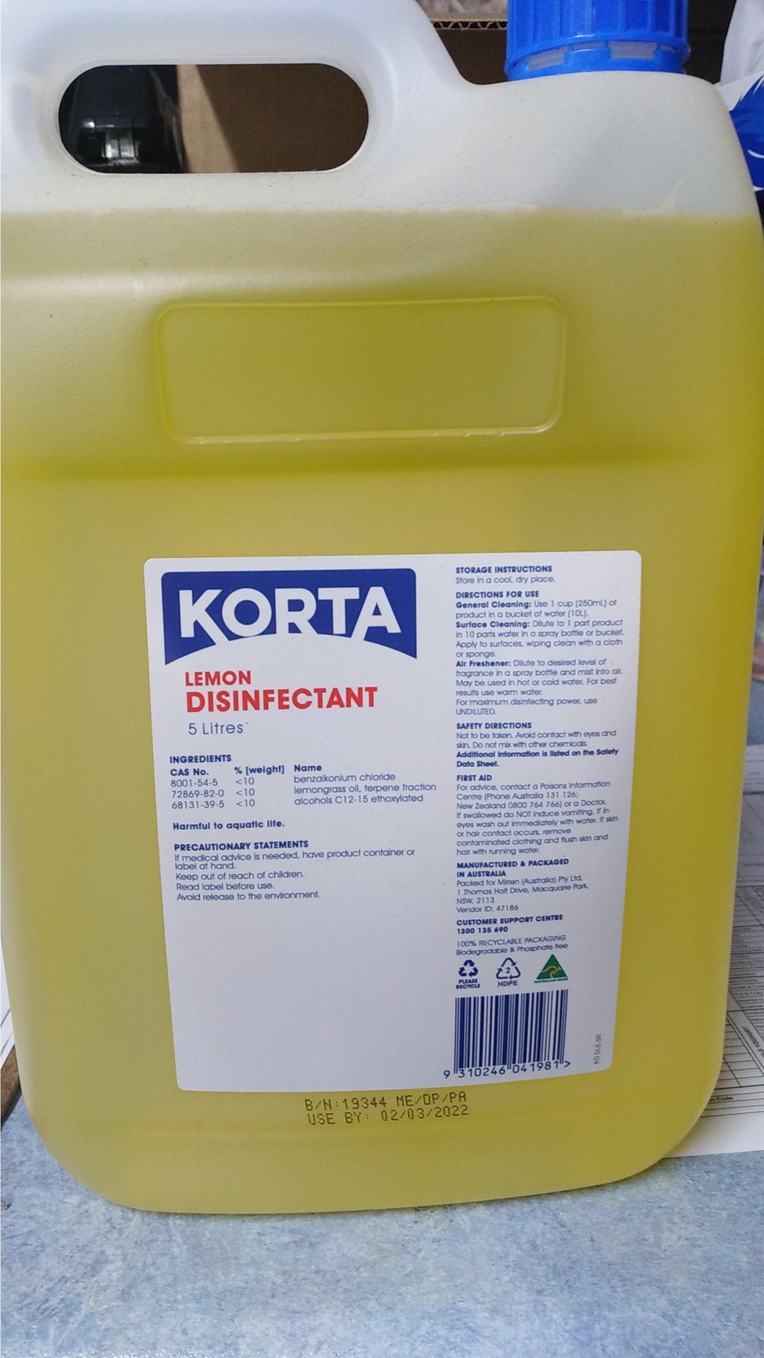 Korta Lemon Disinfectant