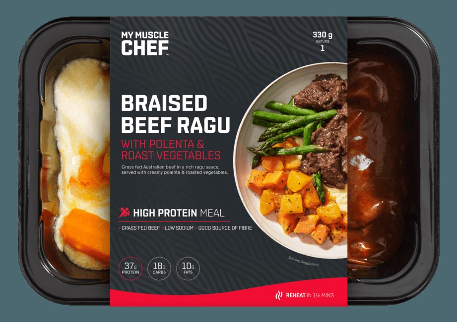 Braised Beef Ragu with Polenta & Roast Vegetables